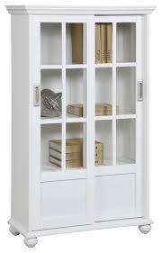ashton oaks bookcase with sliding glass doors white