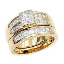 14k gold 2 carat princess cut diamond engagement ring wedding band set yellow image
