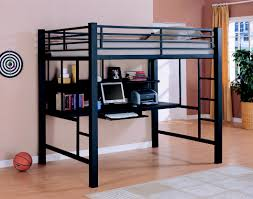 coaster fine furniture 460023 loft bed with workstation black finish with a casual contemporary look and functional designs this metal workstation full
