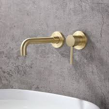 brushed brass single lever wall mounted