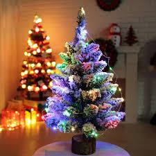Mini Christmas Tree With Lights And Decorations Mini Christmas Tree Artificial Flocking Snow Christmas Tree Led Multicolor Lights Holiday Decoration Arbol De Navidad