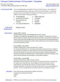 Cv Exemplars Transport Administrator Cv Example And Template Lettercv Com