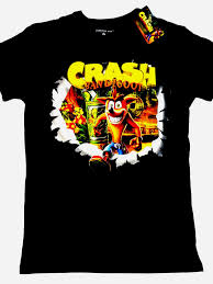 Crash Bandicoot Game Official Activision T Shirt Blk Cotton