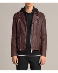allsaints brown conroy leather biker jacket for men lyst