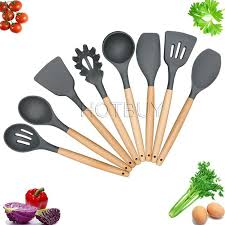 kitchen utensils images. Kitchen Utensils Cooking Utensil Silicone Set Spatula Nonstick Tools Gadgets Wood Handle #4637 Images