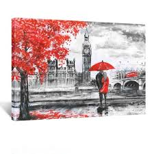 kreative arts red umbrella couple painting canvas art wall decor print on couple with red umbrella wall art with kreative arts red umbrella couple painting canvas art wall decor