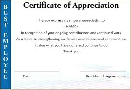 Certificate Of Recognition Wordings Employee Recognition Certificate Template Appreciation Wording For