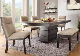 dining set with padded bench and chairs in chicago rattan pertaining to cool dining room