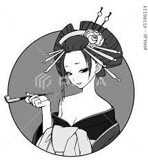花魁 女 日本髪 着物のイラスト素材 Pixta