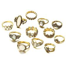 Emorias 12X Vintage Fashion Ring Set Feather Pearl Bohemia Style Retro Ring Costume  Jewellery For Womens