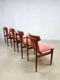 Samt Esszimmerstühle In Rosa Von Inger Klingenberg Für Fristho 1950er 4er Set