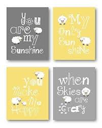 yellow and gray nursery decor you are my sunshine art little lamb wall decor on grey and yellow wall art nursery with amazon yellow and gray nursery decor you are my sunshine art