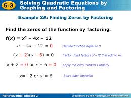 glencoe algebra 2 solving quadratic equations by graphing answer
