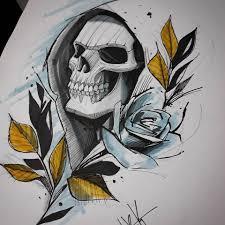 Caverinhaaaa Sketch Skull Tattoo The Last Dragon Tattoo