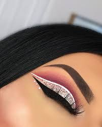 cut crease pink and glitter cut crease with white and black liner