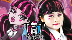 kids draculaura monster high doll costume makeup inspire look tutorial for 2016