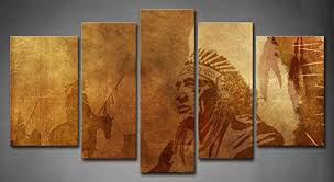 wall art painting 5 panel wall art brown native american chief worriors on horses painting the picture print on canvas people pictures for home decor  on home wall art painting with wall art painting 5 panel wall art brown native american chief