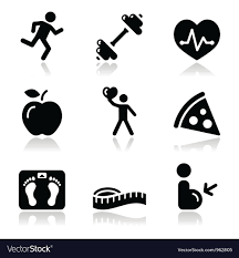 Health And Fitness Health And Fitness Black Clean Icons Set