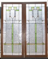 antique arts crafts stained glass oak cabinet doors