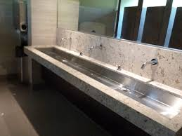 steel bathroom vanity. Undermount Bathroom Double Sink. Bathroom. White Granite And Steel Trough Sink Above Vanity I