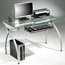 tempered glass top steel frame computer desk