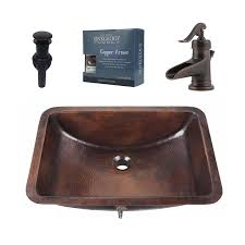 undermount rectangular bathroom sinks. sinkology aged copper undermount rectangular bathroom sink with faucet and overflow included sinks n