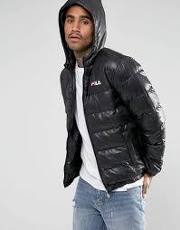 fila vintage fila black padded jacket with hood men jackets