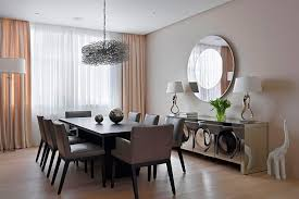 attractive round wall decor mirrors with chromed dining room cabinet and modern dining room funiture for