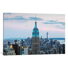 empire state building at dusk midtown new york city new york usa photographic print on wrapped canvas on new york city skyline canvas wall art with modern contemporary new york city skyline wall art allmodern