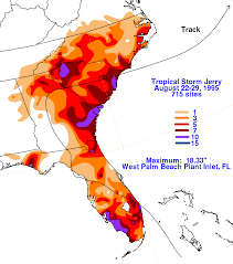 tropical storm jerry 1995 storm total rainfall