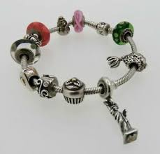 image is loading pandora sterling silver bracelet with 11 charms signed