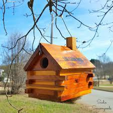 Diy Birdhouse Vintage Souvenir Log Cabin Bank Repurposed Into Diy Birdhouse