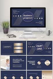 Business Proposal Powerpoint High End Fashion Dark Blue Hot Stamping Business Proposal