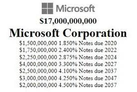Microsoft Corporate Bonds Microsoft Sells 17 Billion Of Bonds To Refinance Debts After Buying