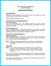 Beautiful Mechanic Job Description Resume About Cv Auto Tech