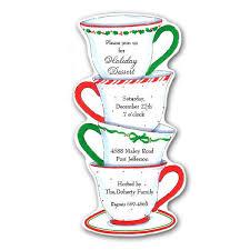 Christmas Tea Party Invitations Christmas Tea Diecut Invitations