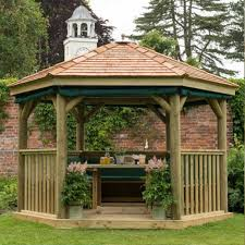 3 0m hexagonal wooden pressure treated garden gazebo with new england cedar roof