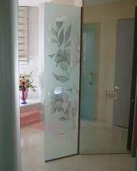 hibiscus hummingbirds glass shower partition tropical bathroom