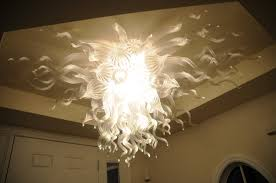 image of contemporary glass chandeliers flames