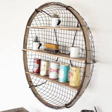 great wire basket wall shelf round shade of light storage organizer mount with hook mounted decor
