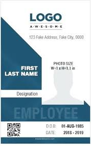 Blank Id Card Template Cool Portrait Id Card Template Employee Vertical Design Ms Word