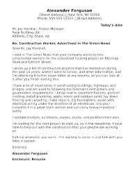 Cover Letter Art Construction Resume Cover Letter Construction Cover