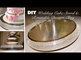 diy bling wedding cake stand rotatable dessert tray