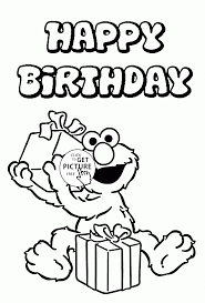 Small Picture Happy Birthday with Elmo coloring page for kids holiday coloring