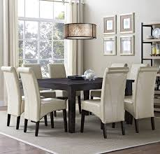 appealing white parsons chair slipcovers with white rug and wood table plus chandelier also rack and