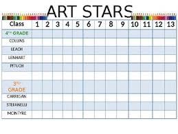 Art Stars Class Sticker Chart Behavior Management