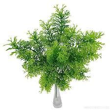 Samidy 4pcs Artificial Small Pine Bush Faux Grass Leaves Fake Shrubs