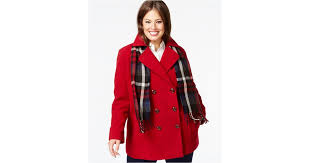 lyst london fog plus size double ted peacoat with plaid scarf in red