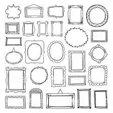 ベクトル フレームは手白の背景に描かれたコレクションですかわいいアウトライン フレーム グラフィック