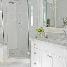 bathroom ideas corner shower design: corner shower with mosaic marble floor